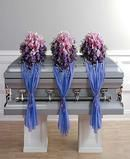 Closed Casket- Trio of Flowers